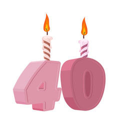 40 years birthday figures with festive candle for vector