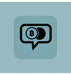 Pale blue bitcoin coin message vector