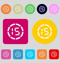 15 second stopwatch icon sign 12 colored buttons vector