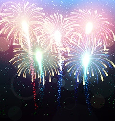 Background with salute bright color fireworks vector
