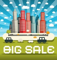 Big sale with city and cars vector