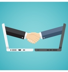Businessmen shake hands from two computers vector image