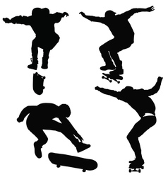 Teenagers ride on a skateboard vector
