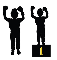 Boy boxing silhouette vector