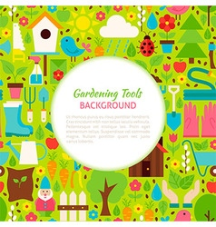 Flat Gardening Tools Pattern Background vector image