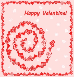 Frame with hearts happy valentine vector