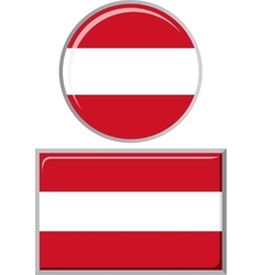Austrian round and square icon flag vector