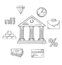 Banking infographic elements in sketch style vector