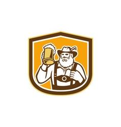 Bavarian beer drinker mug shield retro vector