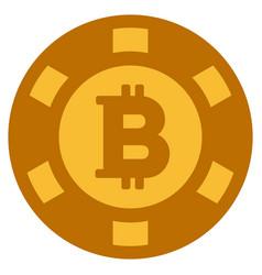 Bitcoin casino chip flat icon vector