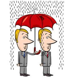 Businessmen under umbrella cartoon vector