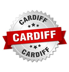 Cardiff round silver badge with red ribbon vector