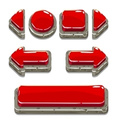 Cartoon red stone buttons for game or web design vector image vector image