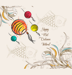 chinese lantern festival doodle graphic design vector image