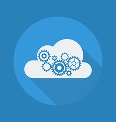 Cloud Computing Flat Icon Cloud with Gears vector image vector image