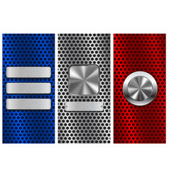 Collection of perforated backgrounds blue red vector