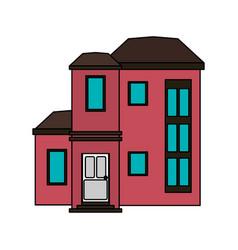 Colorful image cartoon facade modern style vector