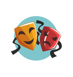 Comedy and tragedy theatrical masks cartoon vector