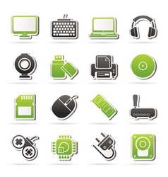Computer peripherals and accessories icons vector image