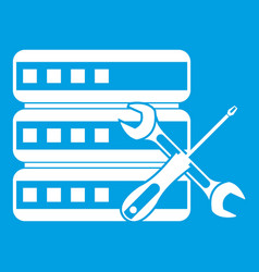Database with screwdriver and spanner icon white vector