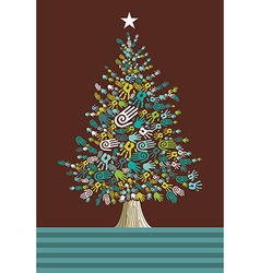 Diversity christmas tree hands card vector