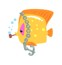 Funny cartoon yellow tang fish with anchor chain vector