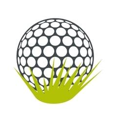 Golf ball on green grass flat icon vector
