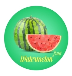 Green watermelon composition The whole and cut vector image