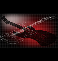 Guitar on a red vector