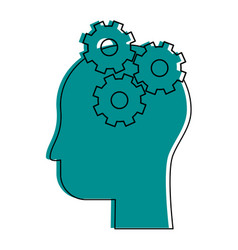 human head profile sideview with gears inside icon vector image
