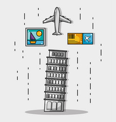 leaning tower of pisa with picture and ticket vector image