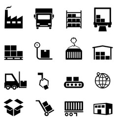 logistics distribution and warehouse icons vector image vector image