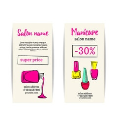 Nail polish colorful coupon flyer set vector