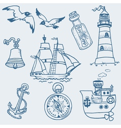 nautical doodles vector image vector image