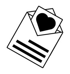 Pictogram card invitation wedding envelope heart vector