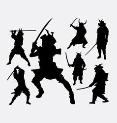 Samurai Japanese warrior silhouette vector image vector image