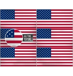Set of american flags in dirty retro style with vector image