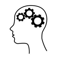 Silhouette human brain gear idea isolated vector