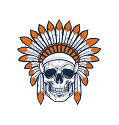 Skull of native indian american warrior vector