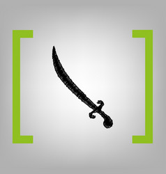 sword sign black scribble vector image vector image