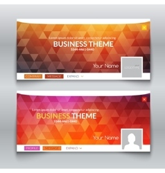 Web business site header layout template profile vector