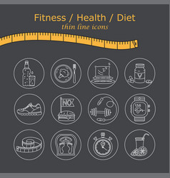 Weight loss diet icons set fitness and health vector