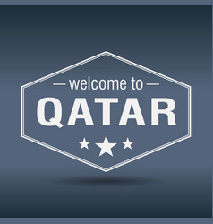 welcome to qatar hexagonal white vintage label vector image