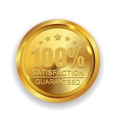 100 satisfaction guaranteed golden medal label vector