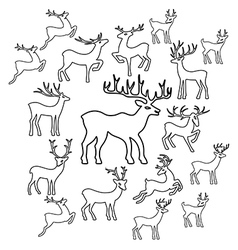 Deer coloring book page set silhouettes vector