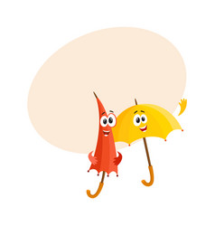 Two smiling funny umbrella characters open and vector