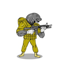 Alien military with gun vector