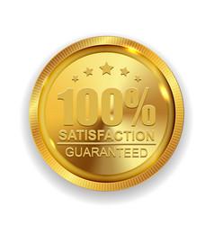 100 satisfaction guaranteed golden medal label vector