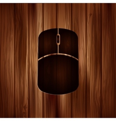 Mouse web icon wooden texture vector