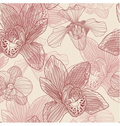Orchid engraving seamless pattern on beige backgro vector